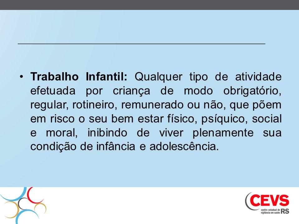 Trabalho Infantil: Qualquer tipo de atividade efetuada por criança de modo obrigatório, regular, rotineiro, remunerado ou não, que põem em risco o seu