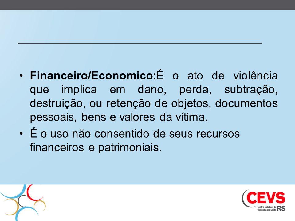 Financeiro/Economico:É o ato de violência que implica em dano, perda, subtração, destruição, ou retenção de objetos, documentos pessoais, bens e valor