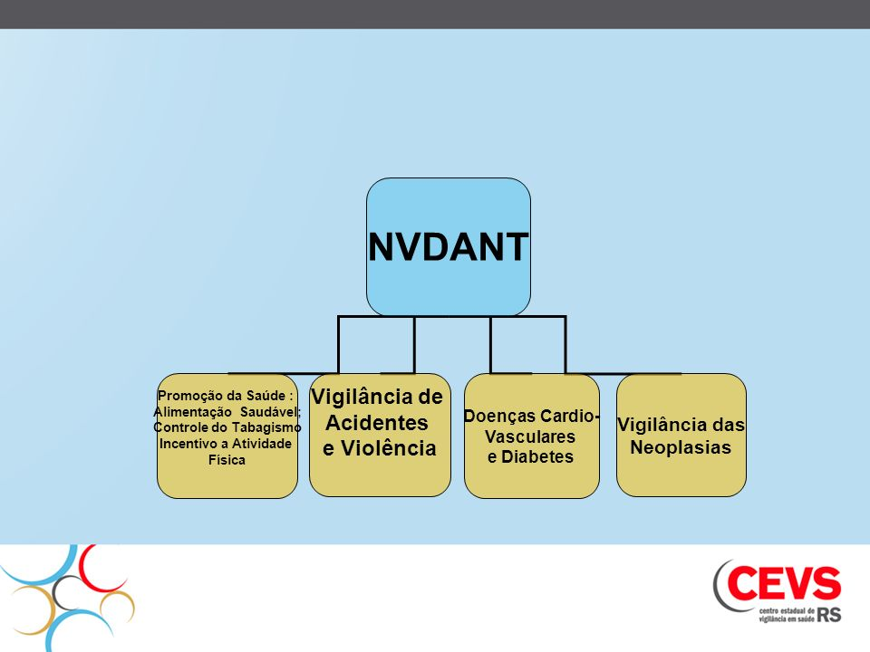 NVDANT Promoção da Saúde : Alimentação Saudável; Controle do Tabagismo Incentivo a Atividade Física Vigilância de Acidentes e Violência Doenças Cardio
