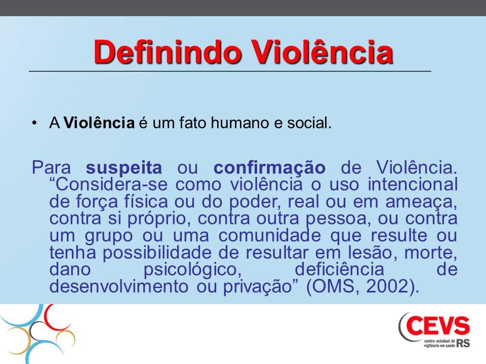 Definindo Violência A Violência é um fato humano e social. Para suspeita ou confirmação de Violência. Considera-se como violência o uso intencional de