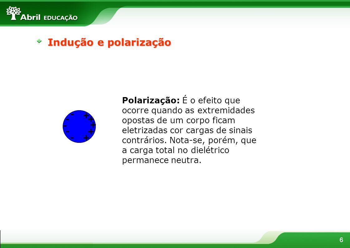 6 Indução e polarização - - - - -+ + + + + Polarização: É o efeito que ocorre quando as extremidades opostas de um corpo ficam eletrizadas cor cargas