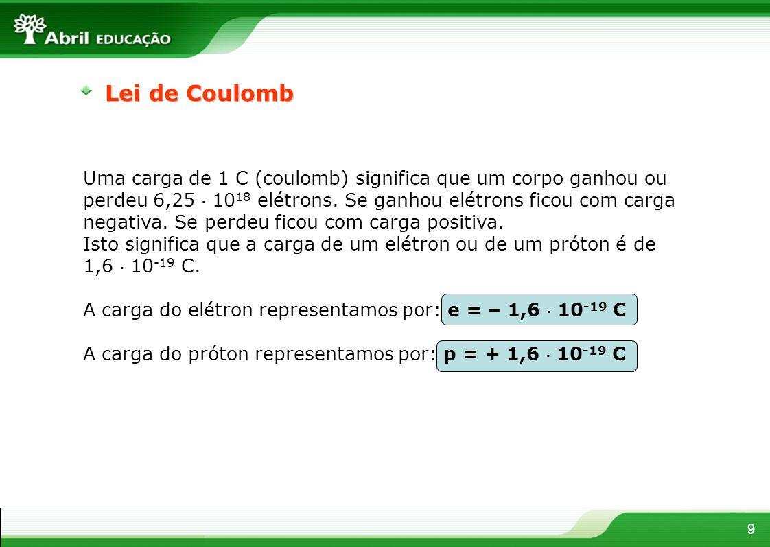 Uma carga de 1 C (coulomb) significa que um corpo ganhou ou perdeu 6,25 10 18 elétrons. Se ganhou elétrons ficou com carga negativa. Se perdeu ficou c