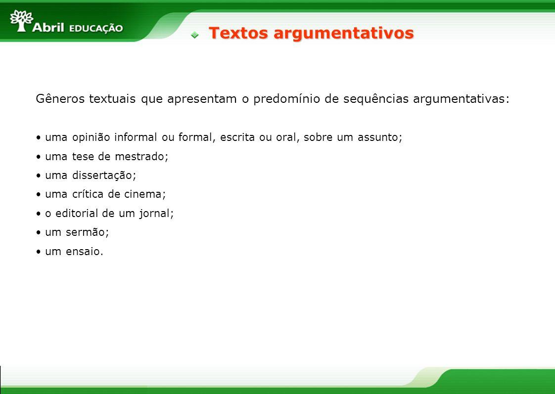 Textos argumentativos Gêneros textuais que apresentam o predomínio de sequências argumentativas: uma opinião informal ou formal, escrita ou oral, sobr