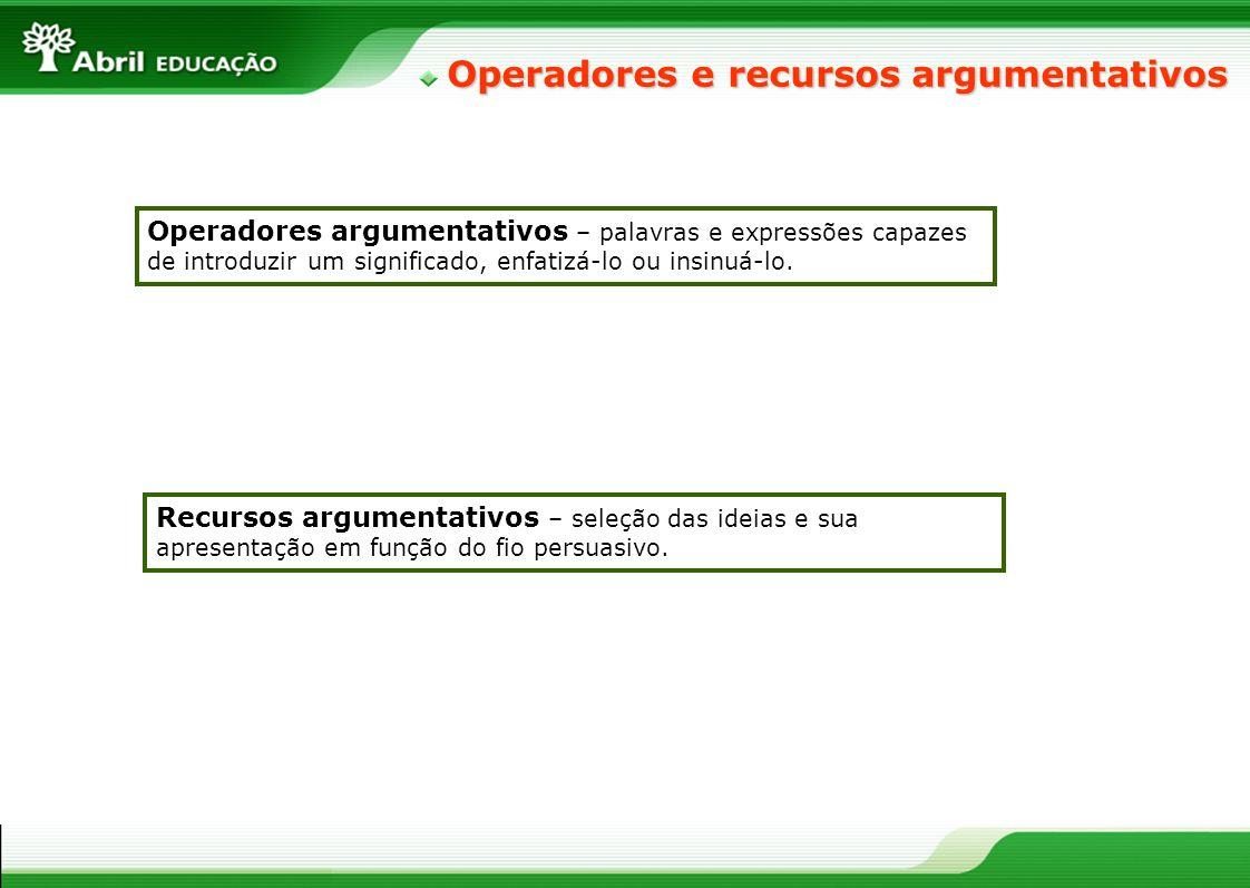 Operadores e recursos argumentativos Operadores argumentativos – palavras e expressões capazes de introduzir um significado, enfatizá-lo ou insinuá-lo