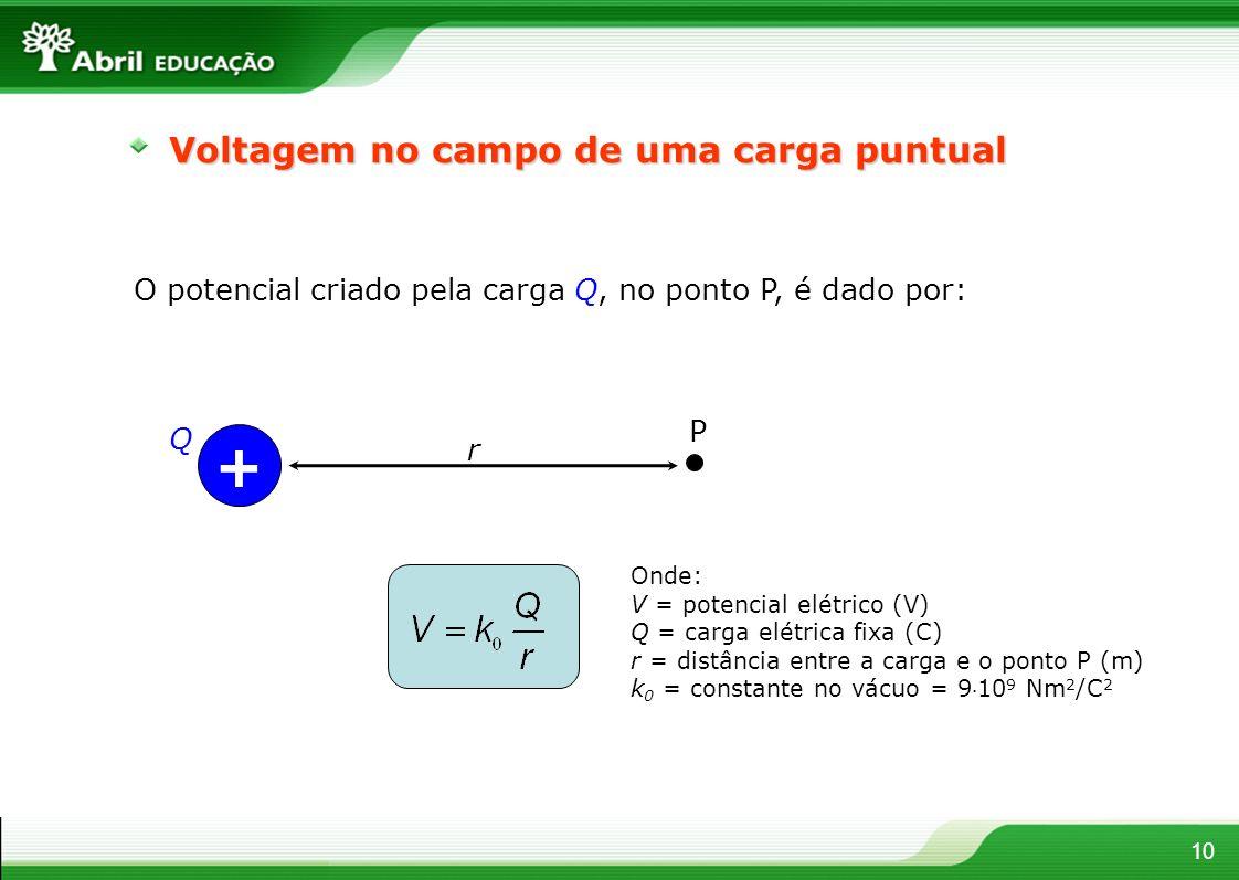 10 Voltagem no campo de uma carga puntual O potencial criado pela carga Q, no ponto P, é dado por: + Q P r Onde: V = potencial elétrico (V) Q = carga