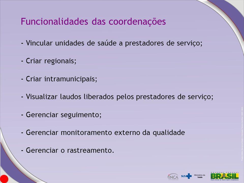Funcionalidades das coordenações - Vincular unidades de saúde a prestadores de serviço; - Criar regionais; - Criar intramunicipais; - Visualizar laudo