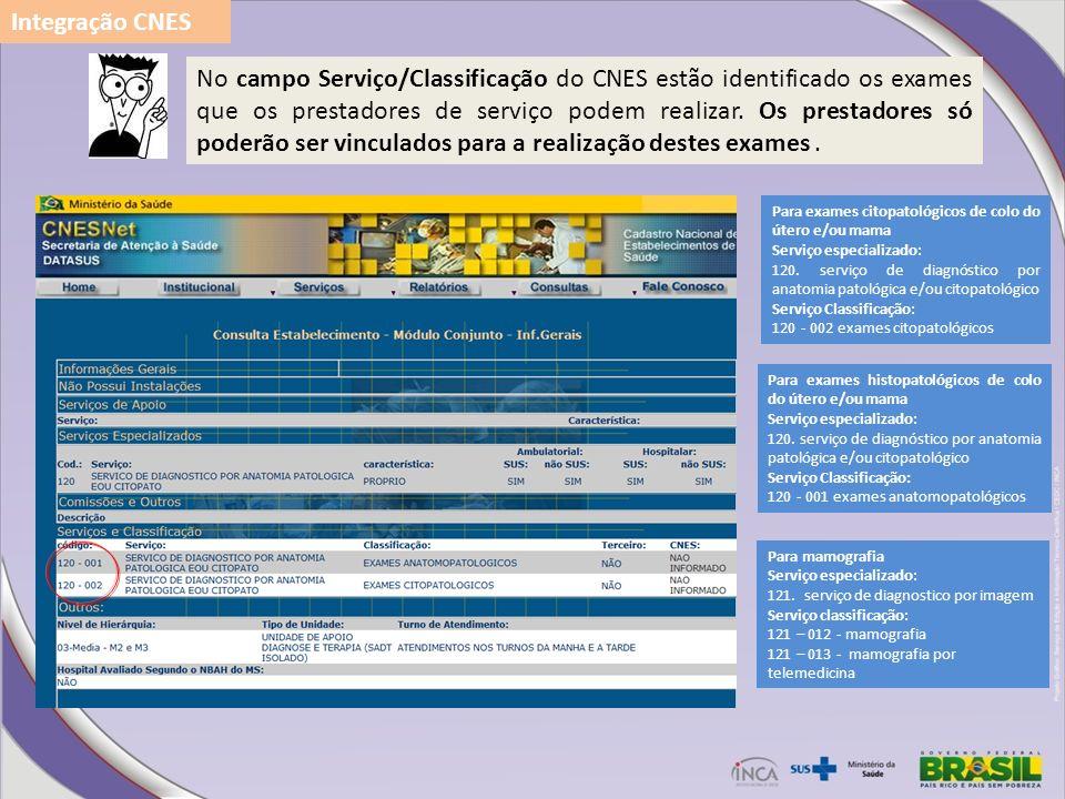 No campo Serviço/Classificação do CNES estão identificado os exames que os prestadores de serviço podem realizar. Os prestadores só poderão ser vincul