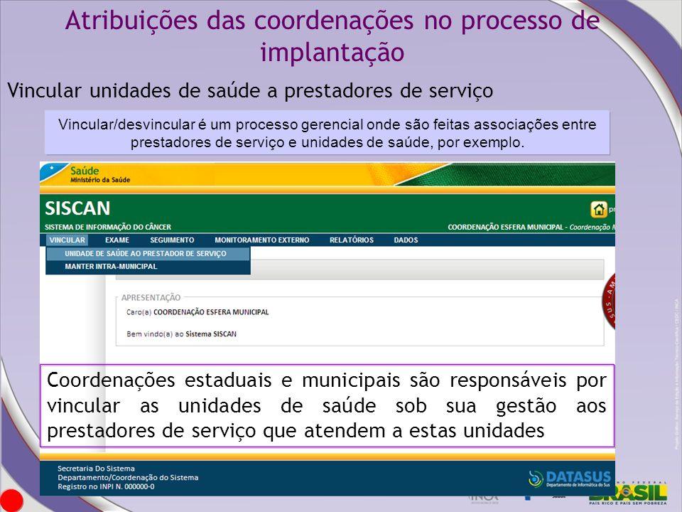 Atribuições das coordenações no processo de implantação Vincular unidades de saúde a prestadores de serviço Coordenações estaduais e municipais são re
