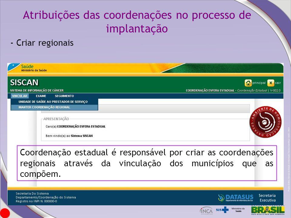 Atribuições das coordenações no processo de implantação Coordenação estadual é responsável por criar as coordenações regionais através da vinculação d