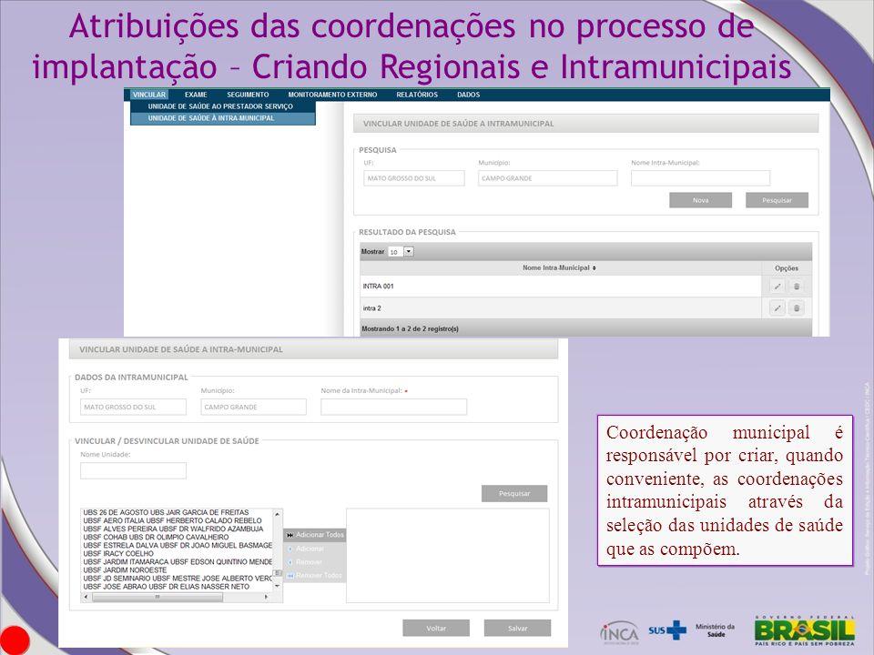 Atribuições das coordenações no processo de implantação – Criando Regionais e Intramunicipais Coordenação municipal é responsável por criar, quando co