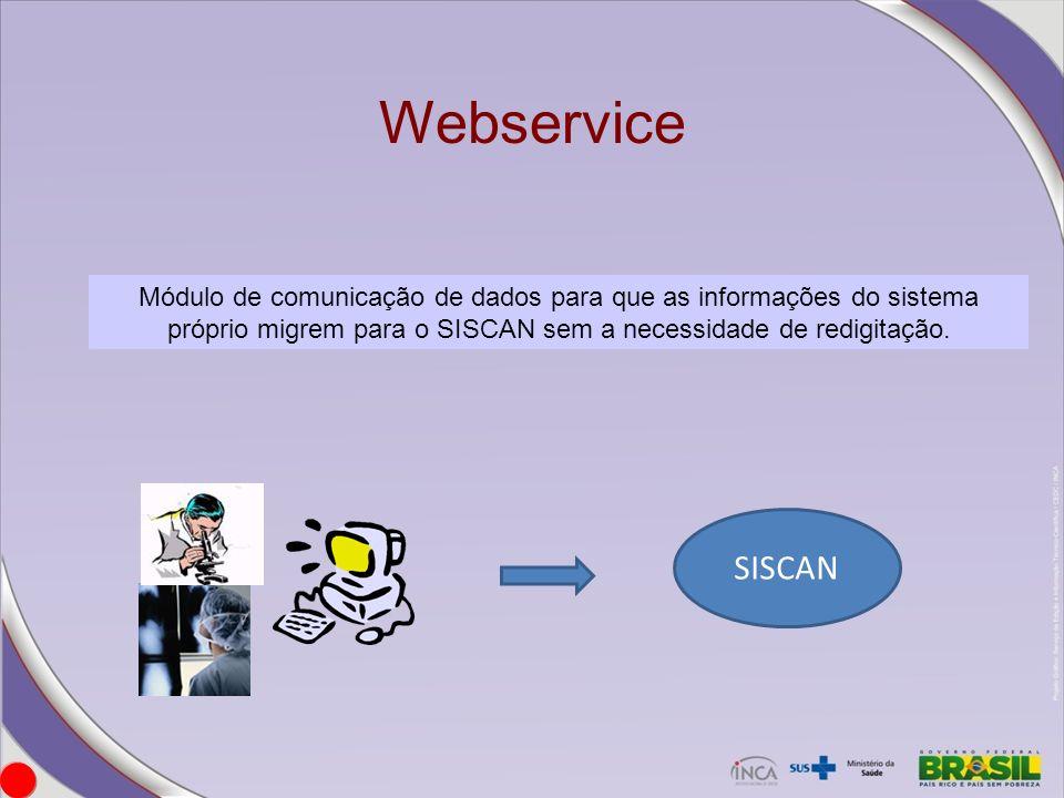 Módulo de comunicação de dados para que as informações do sistema próprio migrem para o SISCAN sem a necessidade de redigitação. SISCAN Webservice