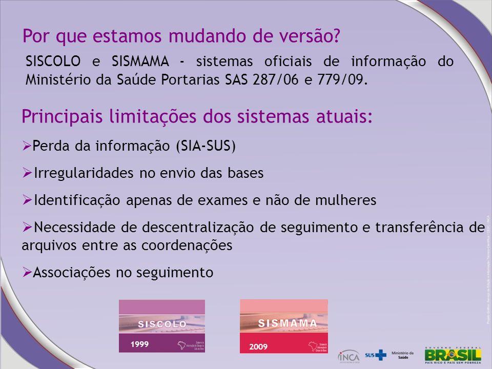 Por que estamos mudando de versão? SISCOLO e SISMAMA - sistemas oficiais de informação do Ministério da Saúde Portarias SAS 287/06 e 779/09. 1999 2009