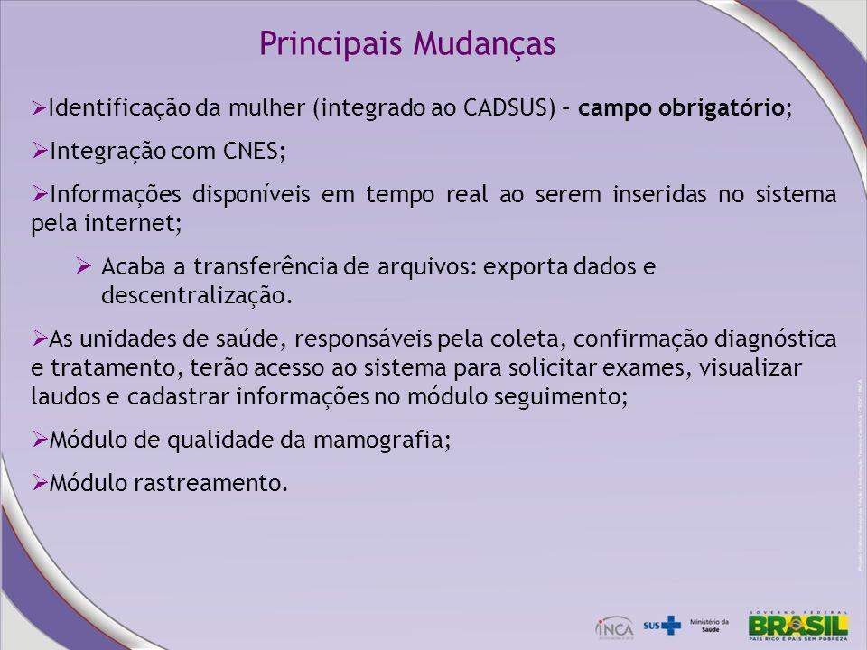 Identificação da mulher (integrado ao CADSUS) – campo obrigatório; Integração com CNES; Informações disponíveis em tempo real ao serem inseridas no si