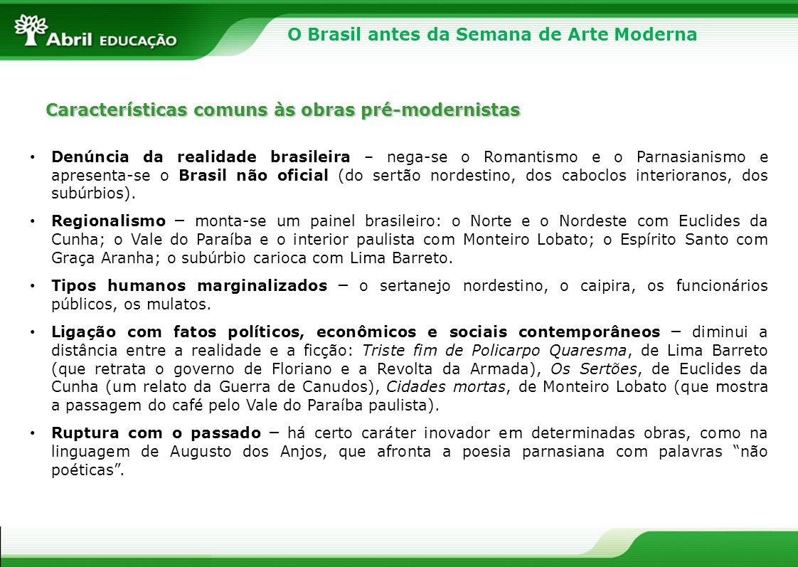 Características comuns às obras pré-modernistas Denúncia da realidade brasileira – nega-se o Romantismo e o Parnasianismo e apresenta-se o Brasil não