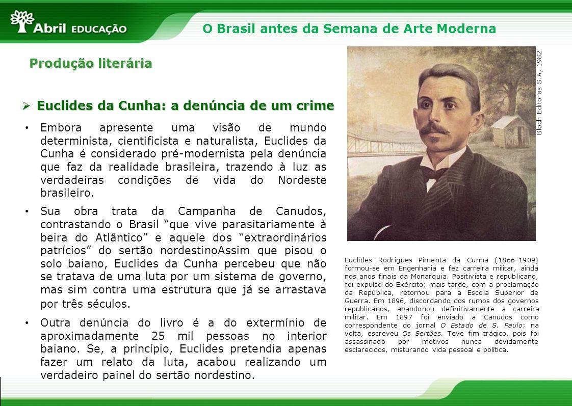 Produção literária Embora apresente uma visão de mundo determinista, cientificista e naturalista, Euclides da Cunha é considerado pré-modernista pela
