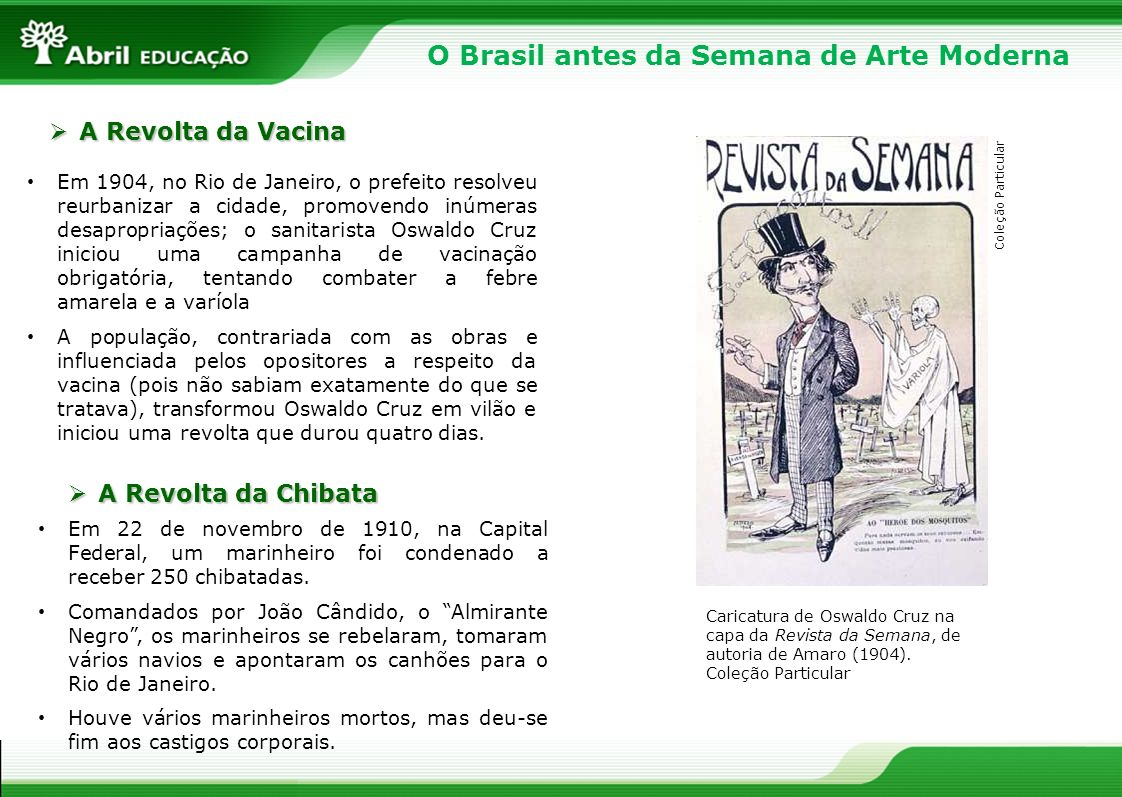 O Brasil antes da Semana de Arte Moderna Em 1904, no Rio de Janeiro, o prefeito resolveu reurbanizar a cidade, promovendo inúmeras desapropriações; o