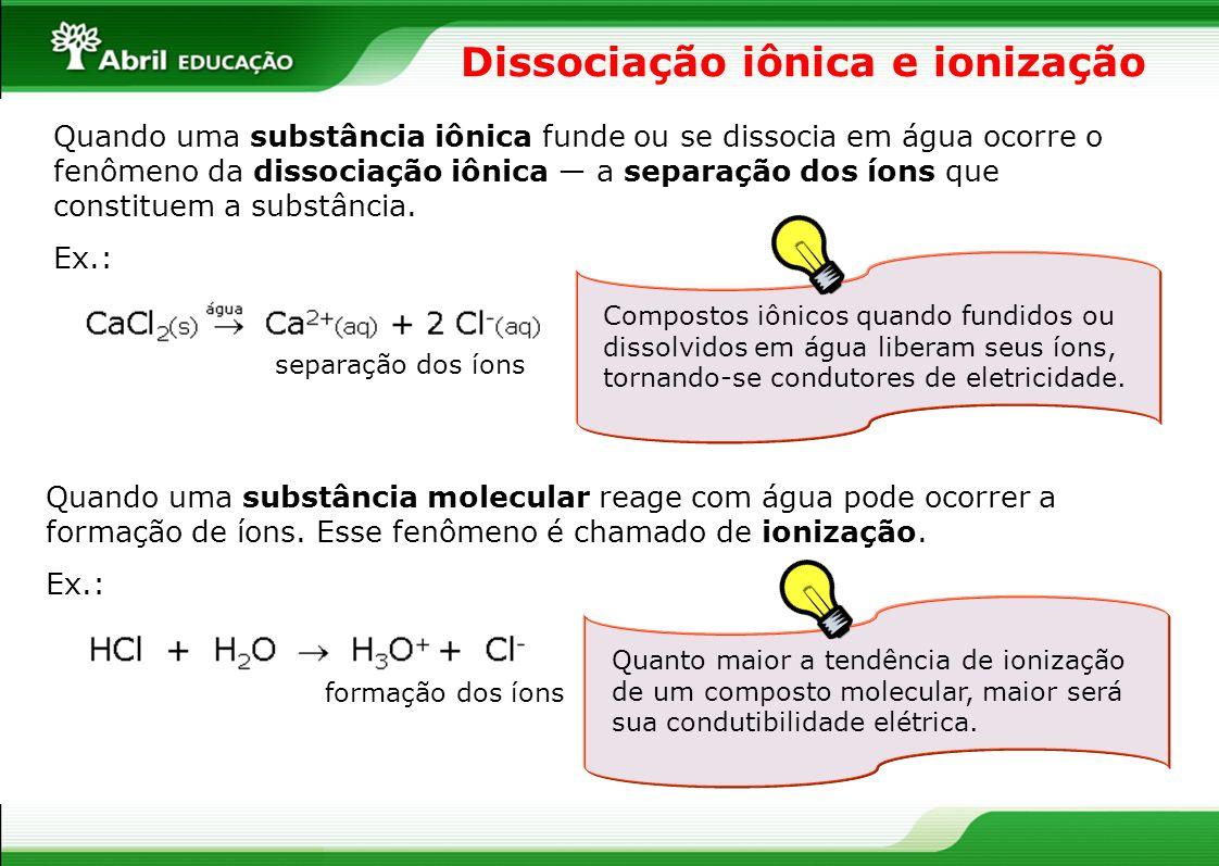 Dissociação iônica e ionização Quando uma substância iônica funde ou se dissocia em água ocorre o fenômeno da dissociação iônica a separação dos íons