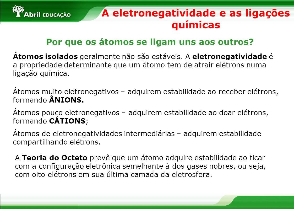 Ligações iônicas As substâncias iônicas são formadas por meio da transferência de elétrons de um átomo pouco eletronegativo para outro muito eletronegativo.