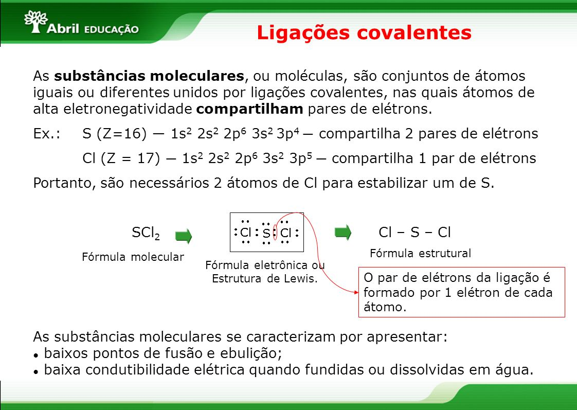 Ligações covalentes As substâncias moleculares, ou moléculas, são conjuntos de átomos iguais ou diferentes unidos por ligações covalentes, nas quais á
