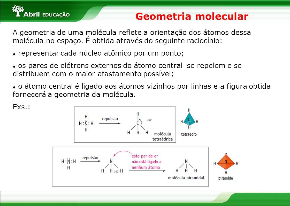 Previsão da geometria molecular Fórmula da molécula Pares de e - disponíveis no átomo central Geometria molecular Exemplos ABlinearCO, HF AB 2 simangularH 2 O, SCl 2 AB 2 nãolinearCO 2, HCN AB 3 simpiramidalNH 3, PCl 3 AB 3 nãotriangularSO 3, COCl 2 AB 4 nãotetraédricaCCl 4, CH 2 Cl 2 (Regra prática)