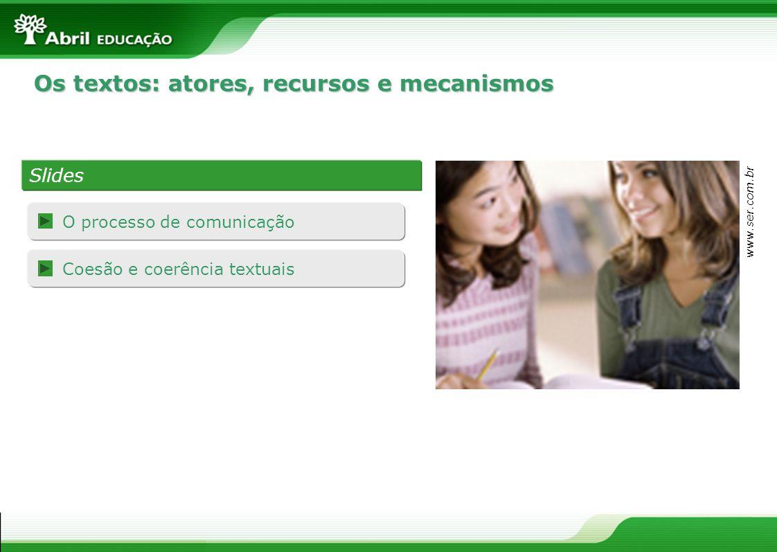 Os textos: atores, recursos e mecanismos Slides www.ser.com.br O processo de comunicação Coesão e coerência textuais