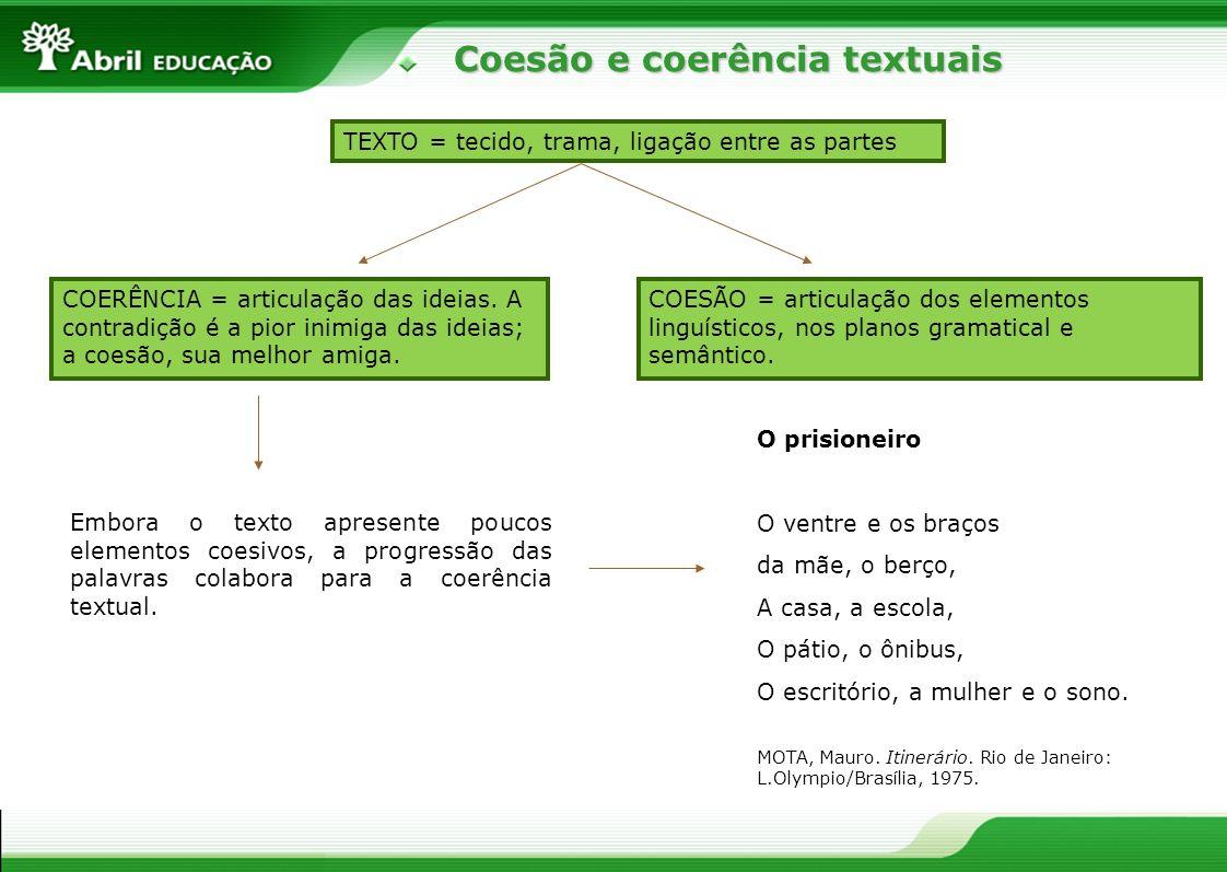 Coesão e coerência textuais Coesão e coerência textuais Embora o texto apresente poucos elementos coesivos, a progressão das palavras colabora para a