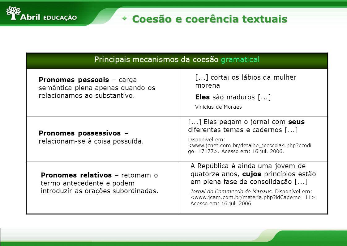 Coesão e coerência textuais Principais mecanismos da coesão gramatical Pronomes demonstrativos – relacionam-se a uma pessoa do discurso, faz referência ao substantivo que preenche o significado dela.
