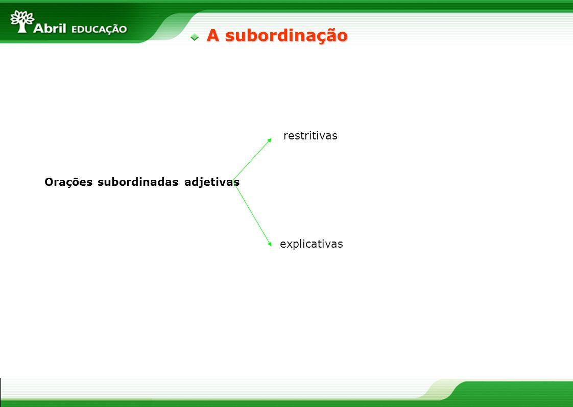 Orações subordinadas adjetivas restritivas explicativas A subordinação