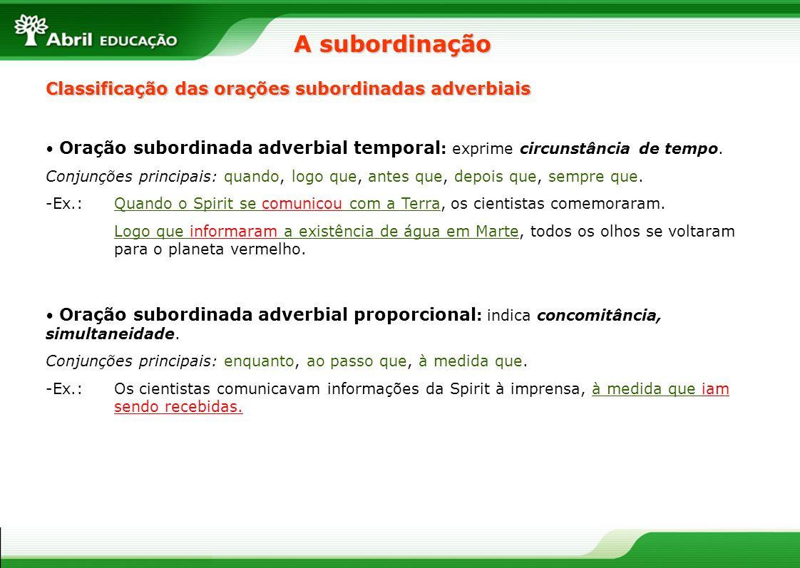 Oração subordinada adverbial temporal : exprime circunstância de tempo. Conjunções principais: quando, logo que, antes que, depois que, sempre que. -E
