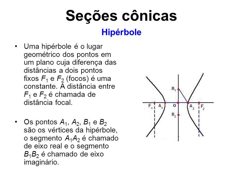 Uma hipérbole é o lugar geométrico dos pontos em um plano cuja diferença das distâncias a dois pontos fixos F 1 e F 2 (focos) é uma constante. A distâ
