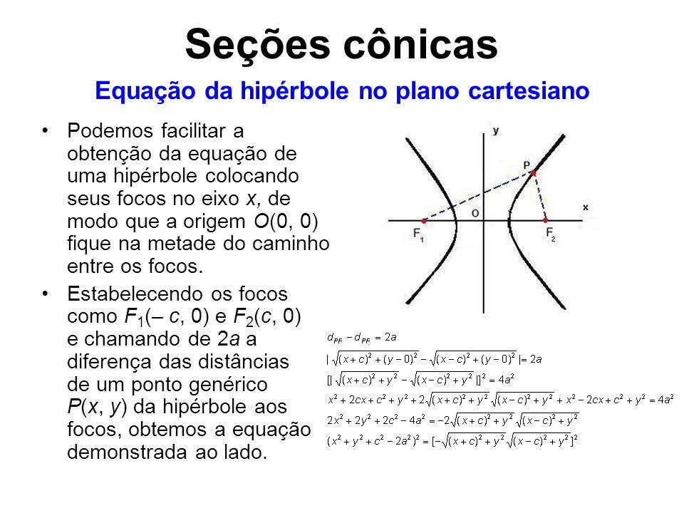 Podemos facilitar a obtenção da equação de uma hipérbole colocando seus focos no eixo x, de modo que a origem O(0, 0) fique na metade do caminho entre