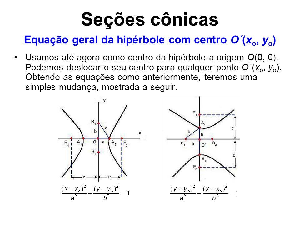 Usamos até agora como centro da hipérbole a origem O(0, 0). Podemos deslocar o seu centro para qualquer ponto O´(x o, y o ). Obtendo as equações como