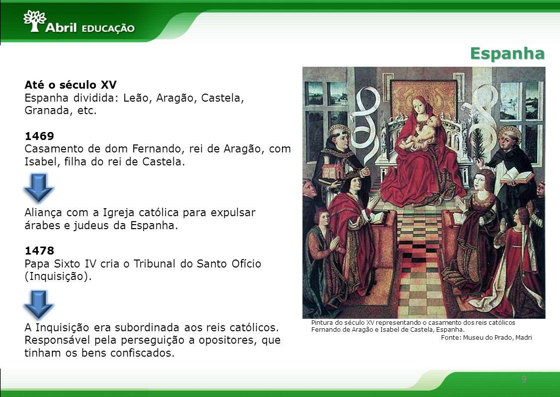 9 Até o século XV Espanha dividida: Leão, Aragão, Castela, Granada, etc. 1469 Casamento de dom Fernando, rei de Aragão, com Isabel, filha do rei de Ca