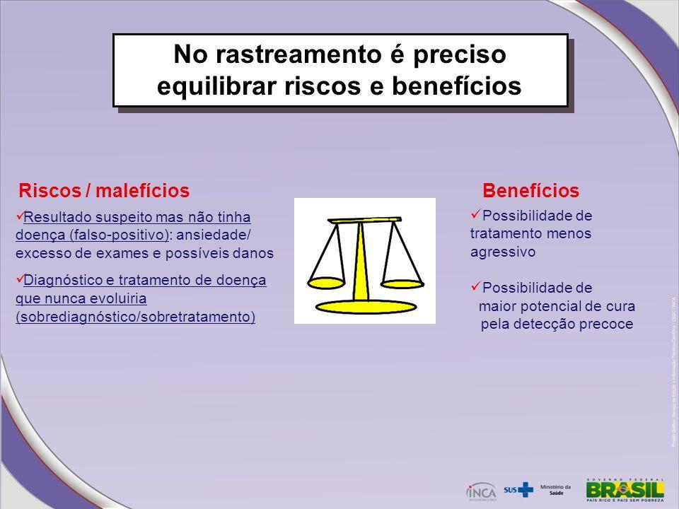 No rastreamento é preciso equilibrar riscos e benefícios Possibilidade de tratamento menos agressivo Possibilidade de maior potencial de cura pela det