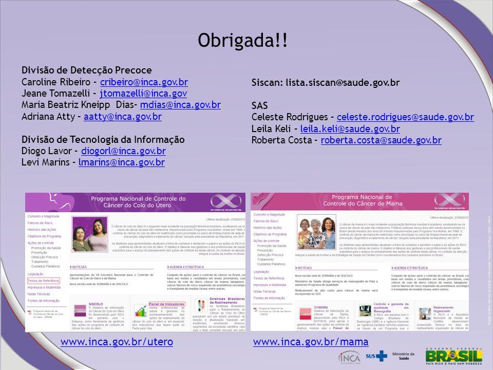 Obrigada!! Divisão de Detecção Precoce Caroline Ribeiro – cribeiro@inca.gov.brcribeiro@inca.gov.br Jeane Tomazelli – jtomazelli@inca.govjtomazelli@inc