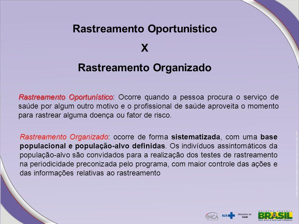 Rastreamento Oportunistico X Rastreamento Organizado Rastreamento Oportunístico Rastreamento Oportunístico: Ocorre quando a pessoa procura o serviço d