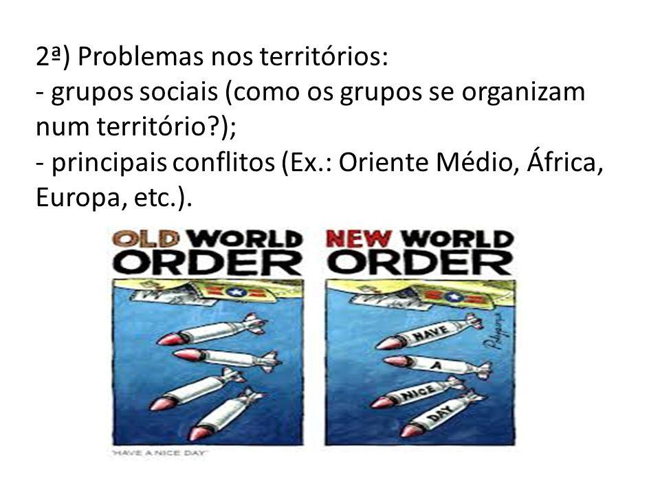 2ª) Problemas nos territórios: - grupos sociais (como os grupos se organizam num território?); - principais conflitos (Ex.: Oriente Médio, África, Eur