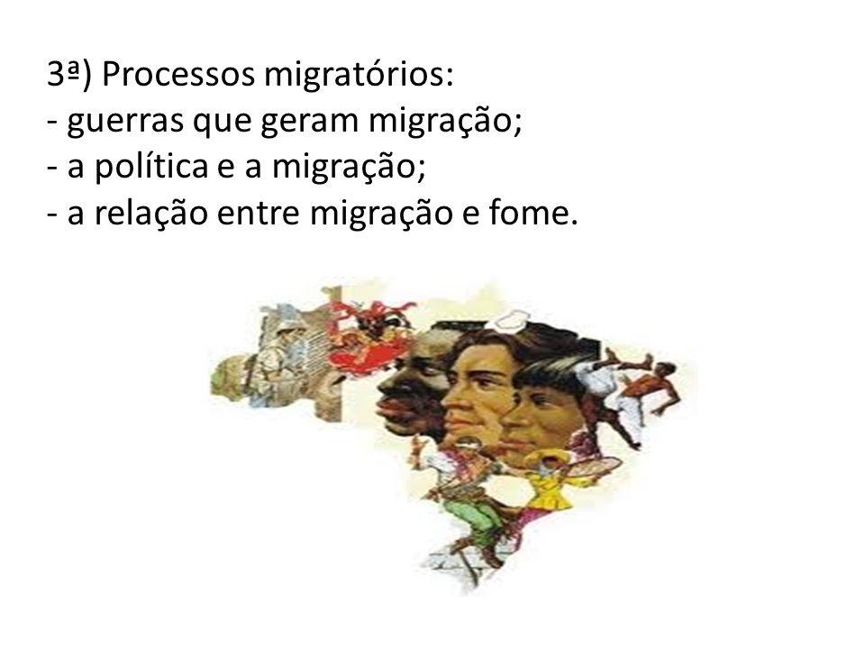 3ª) Processos migratórios: - guerras que geram migração; - a política e a migração; - a relação entre migração e fome.