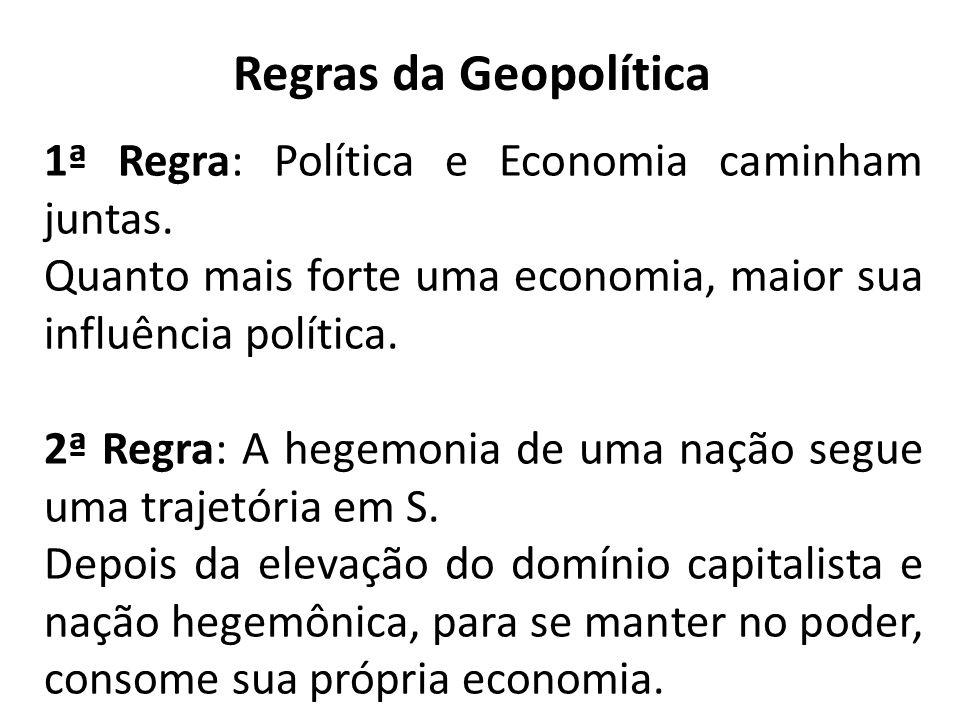 Regras da Geopolítica 1ª Regra: Política e Economia caminham juntas. Quanto mais forte uma economia, maior sua influência política. 2ª Regra: A hegemo