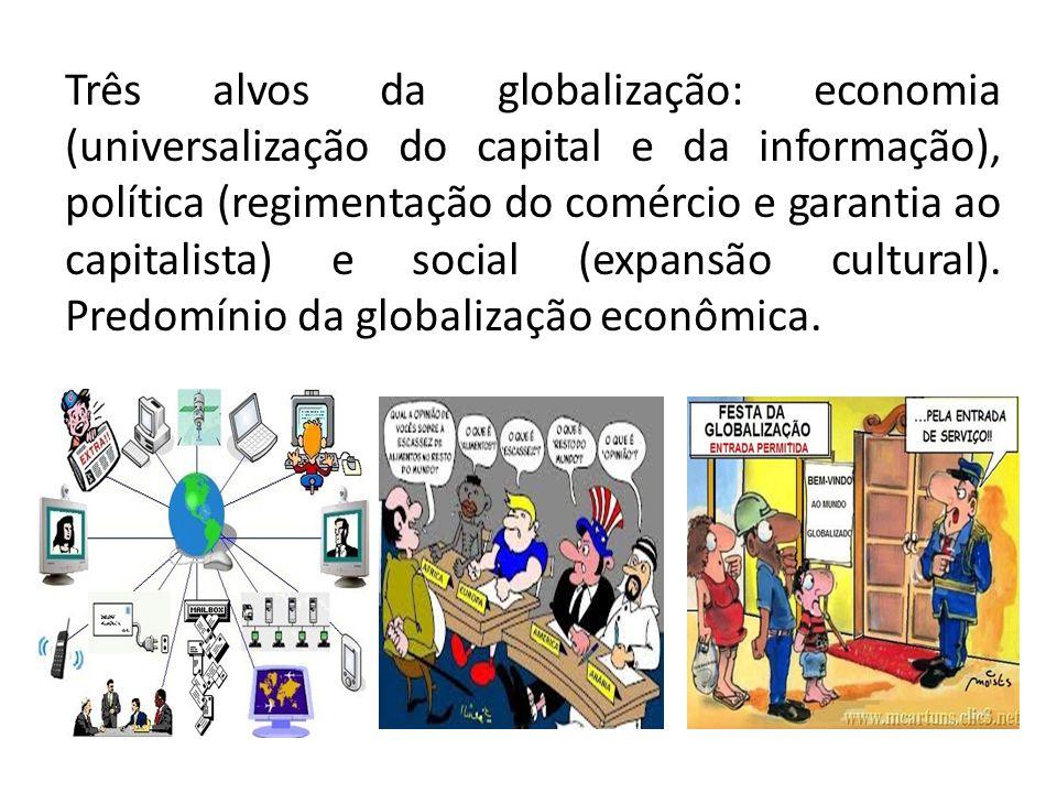 Três alvos da globalização: economia (universalização do capital e da informação), política (regimentação do comércio e garantia ao capitalista) e soc