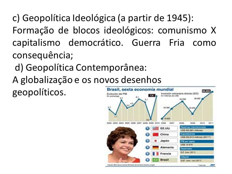 c) Geopolítica Ideológica (a partir de 1945): Formação de blocos ideológicos: comunismo X capitalismo democrático. Guerra Fria como consequência; d) G
