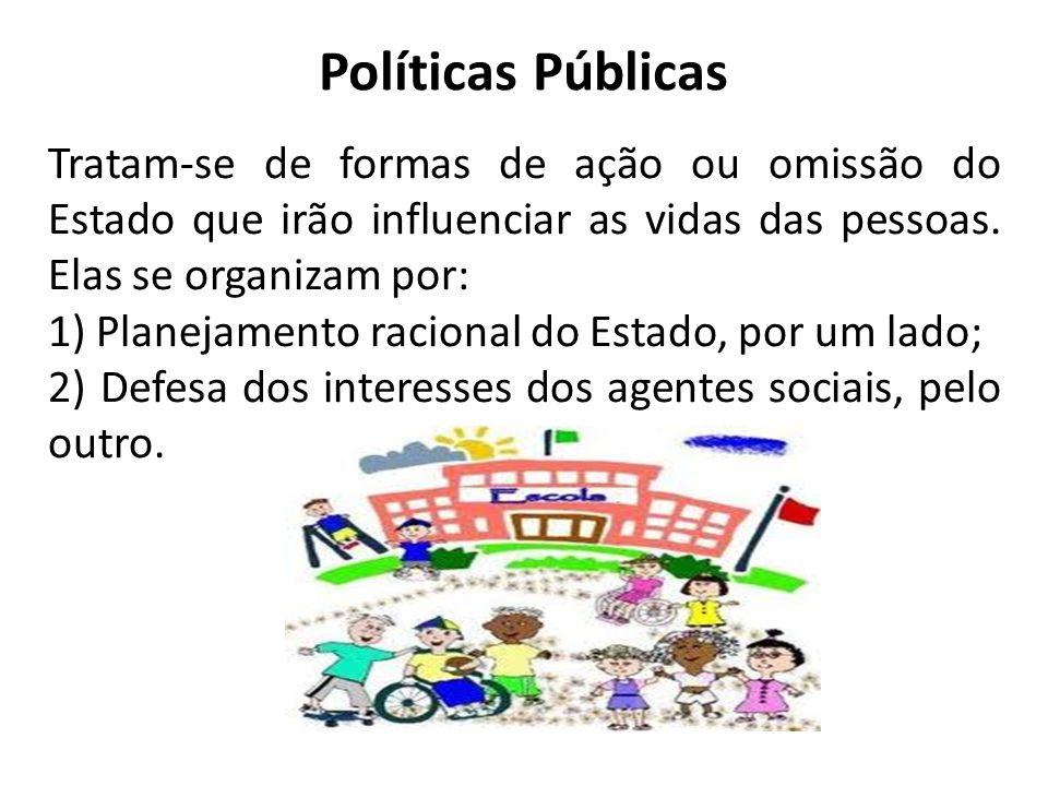 Políticas Públicas Tratam-se de formas de ação ou omissão do Estado que irão influenciar as vidas das pessoas. Elas se organizam por: 1) Planejamento