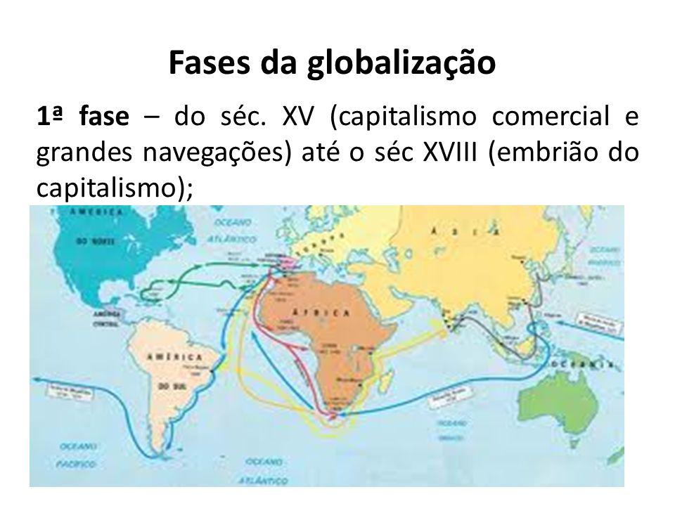 Fases da globalização 1ª fase – do séc. XV (capitalismo comercial e grandes navegações) até o séc XVIII (embrião do capitalismo);