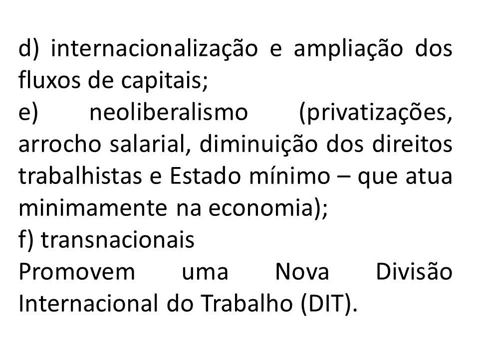 d) internacionalização e ampliação dos fluxos de capitais; e) neoliberalismo (privatizações, arrocho salarial, diminuição dos direitos trabalhistas e
