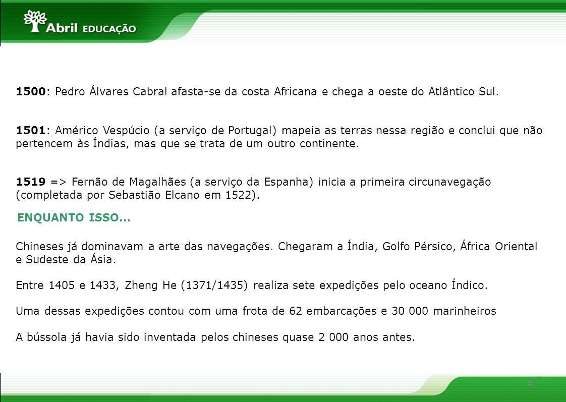 4 1500: Pedro Álvares Cabral afasta-se da costa Africana e chega a oeste do Atlântico Sul. 1501: Américo Vespúcio (a serviço de Portugal) mapeia as te