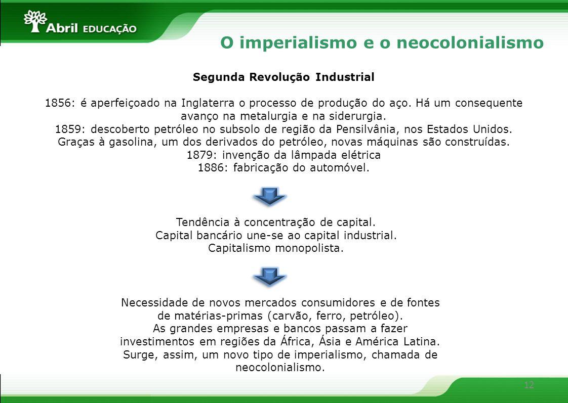 12 O imperialismo e o neocolonialismo Segunda Revolução Industrial 1856: é aperfeiçoado na Inglaterra o processo de produção do aço. Há um consequente