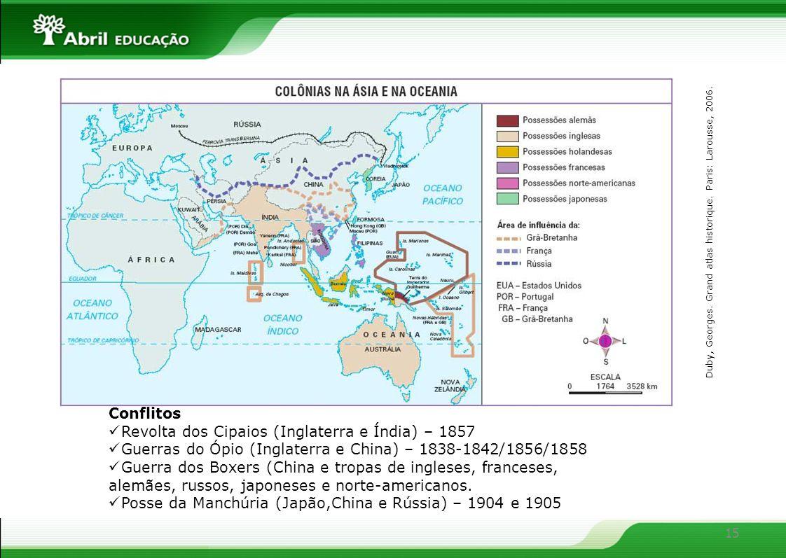 15 Conflitos Revolta dos Cipaios (Inglaterra e Índia) – 1857 Guerras do Ópio (Inglaterra e China) – 1838-1842/1856/1858 Guerra dos Boxers (China e tro