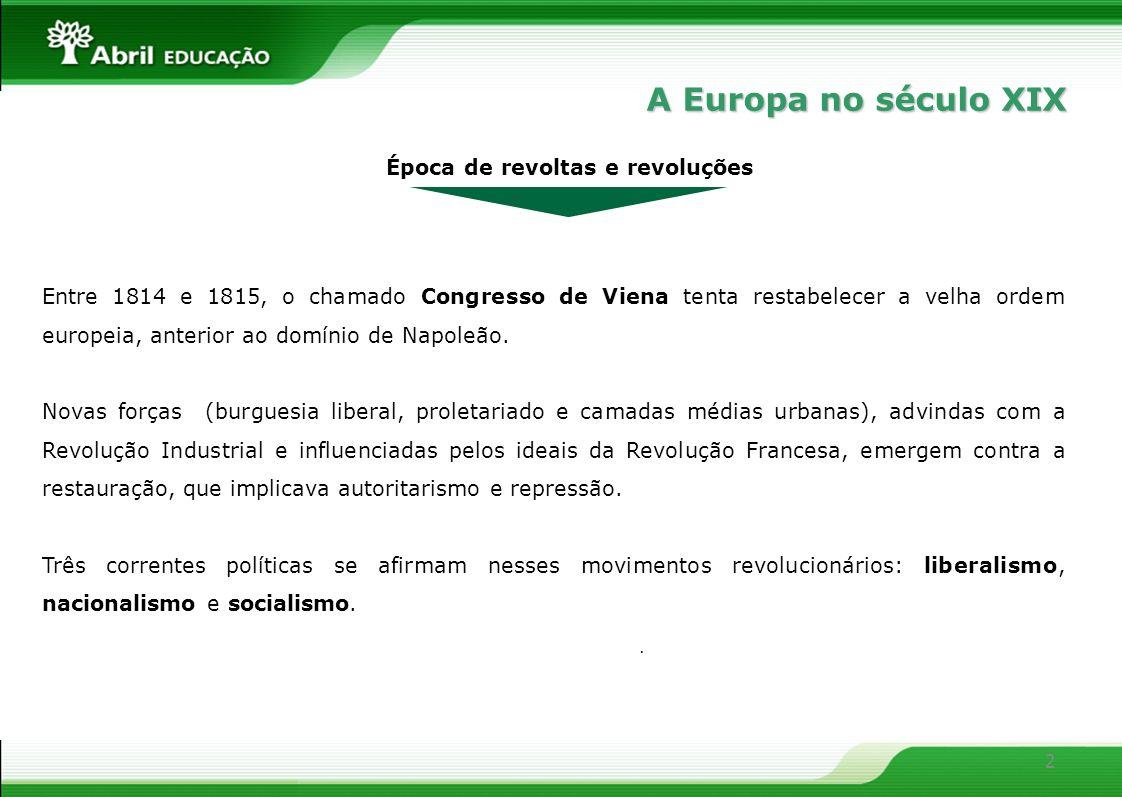 2 Época de revoltas e revoluções Entre 1814 e 1815, o chamado Congresso de Viena tenta restabelecer a velha ordem europeia, anterior ao domínio de Nap