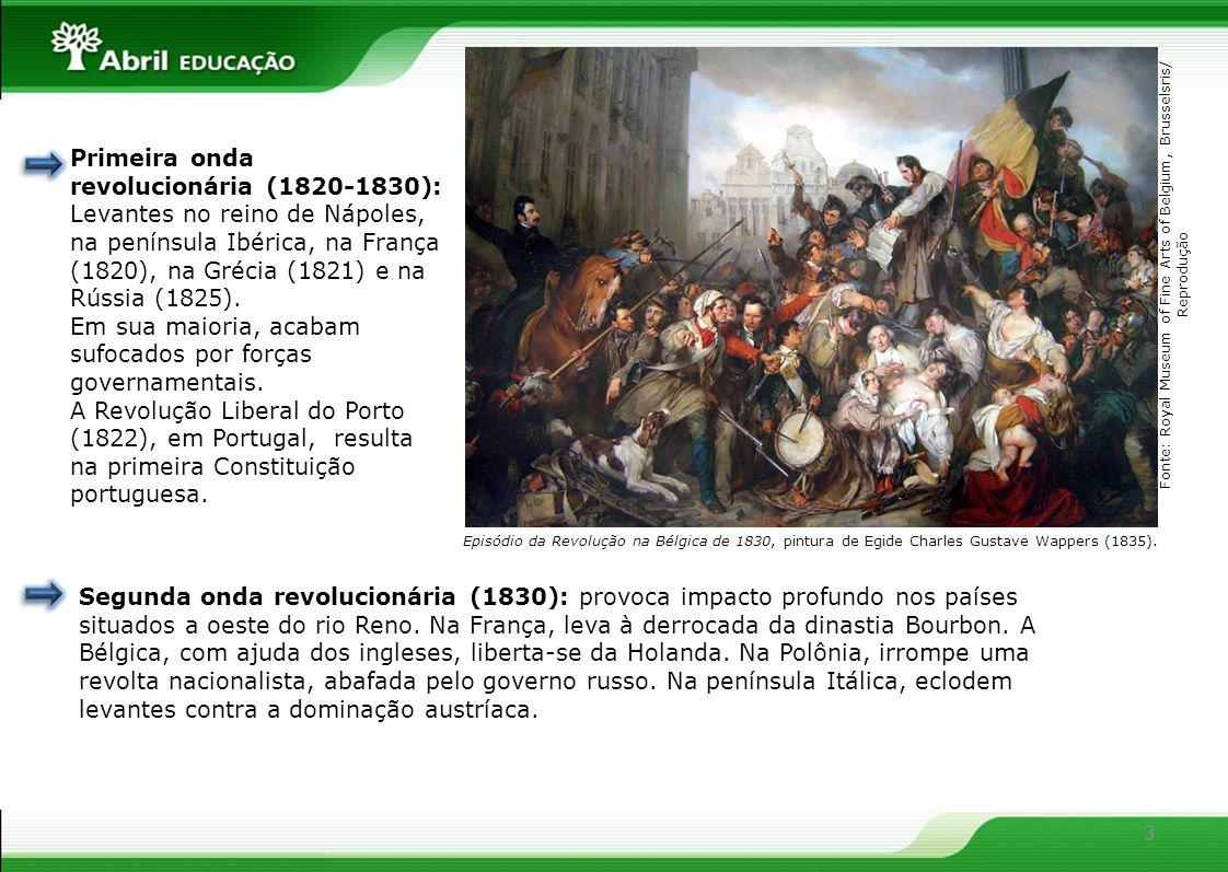 3 Primeira onda revolucionária (1820-1830): Levantes no reino de Nápoles, na península Ibérica, na França (1820), na Grécia (1821) e na Rússia (1825).