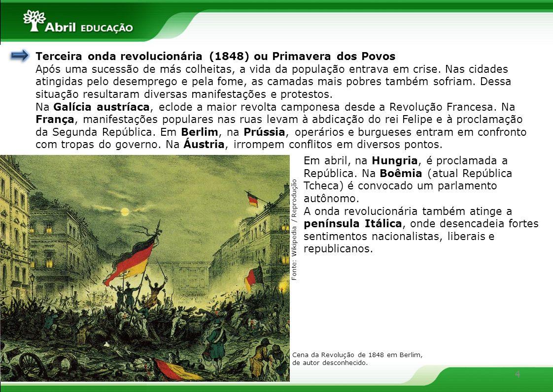 4 Terceira onda revolucionária (1848) ou Primavera dos Povos Após uma sucessão de más colheitas, a vida da população entrava em crise. Nas cidades ati